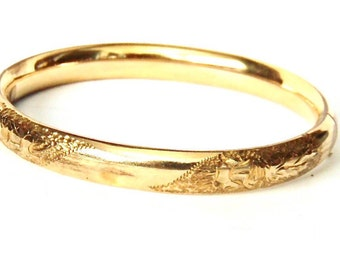 Vintage Gold Filled Hinged Bangle Bracelet, Etched Floral Pattern