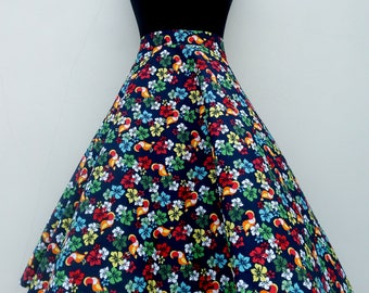 Exotic toucan and hibiscus print skirt, 50s style custom made skirt ,plus size skirt