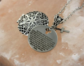 The Lords Prayer Essential Oil Necklace - Aromatherapy Necklace - Religious Necklace - The Lords Prayer Necklace - Christian Necklace -Faith