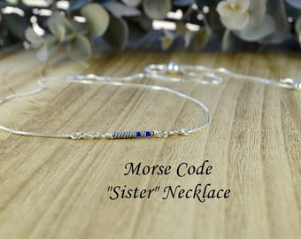 "Morse Code ""Sister"" Adjustable Sterling Silver Interchangeable Charm/Link Bolo Necklace- Charm, Bracelet Chain, or Both"