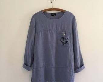 Vintage 90's Purple Periwinkle Linen Heart Tunic M