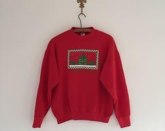 Vintage 80's Williamsburg Christmas Sweatshirt M