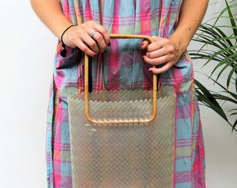 1960s Clear Plastic Market Bag with Bamboo Handles
