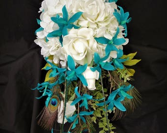 Teal orchid bridal bouquet, white hydrangeas,  cascading bouquet, real touch roses