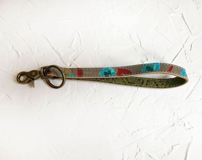 OOAK Hand painted leather key fob #3