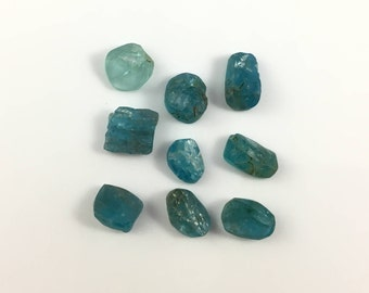 Blue Apatite Rough | Lot of 9 | Loose Natural Raw Crystals |