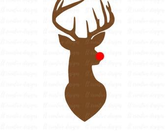 Reeindeer SVG, Rudolph SVG, Deer Head SVG, Deer Svg, Svg Files, Cricut, Silhouette Cut Files