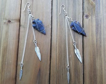 Bohemian Earrings with Arrowheads and Feathers