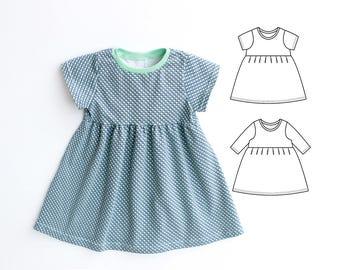 DOTTY Baby Girl Dress sewing pattern Pdf, Knit Jersey Dress, Short and Long Sleeve, Toddler dress, newborn dress 0 - 10 years