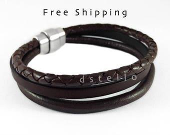 Mens leather bracelet, 3year annivesary, Custom mens leather bracelet, Anniversary gifts for men, Dark brown leather - Retro look