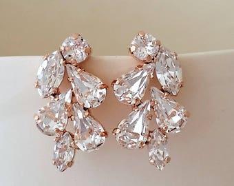Rose gold Bridal earrings,Crystal crystal stud earrings,Bridesmaid gift,Petite earrings,Rose gold Cluster earringS,Vintage Bridal earrings