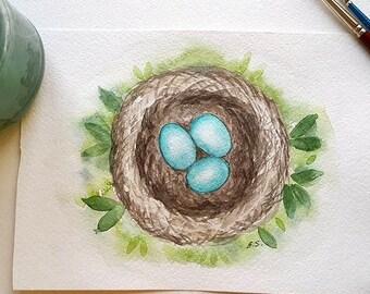 Original watercolor painting Bird nest Robins nest Turquoise bird eggs Wall art spring decor Hand painted art card Nature art