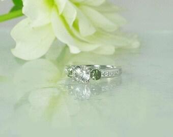 September Birthstone Ring, Green Sapphire Ring, Sapphire Ring, Three Stone Ring, Herkimer Diamond, Herkimer Ring, September Birthday