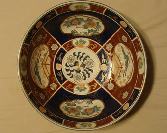 Large, Deep Bowl, 10 inches Wide, Imari Style