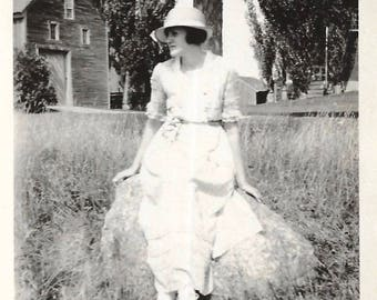 "Vintage Snapshot ""Farmer's Daughter"" Lovely Young Woman White Dress Shoes Hat Rural America Found Vernacular Photo"
