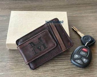 Money clip, Personalized leather Wallet Groomsmen gift Money clip, Mens gift, personalized mens wallet, leather money clip, Groomsman gift