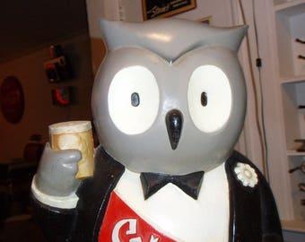 "1940's Lord Calvert Whiskey Anthropomorphic Owl Tuxedo Ambassador Advertising Bar Display Mascot ""Clear Heads Choose Calvert"" Baltimore"