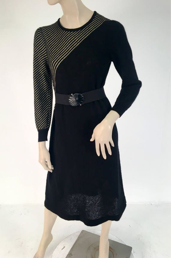 Vintage 1970s Black Gold Stripe Halston Sportswear Sweater Dress M/L