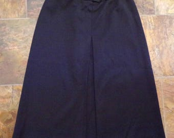 BLACK PONTE KNIT A-line skirt with inverted front pleat M L