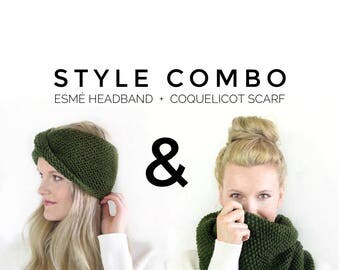 Forest Green Knit Infinity Scarf Turban Headband Gift Set / Fall Fashion Outfit Winter Style Christmas Gift / Stylish Knitwear Combo