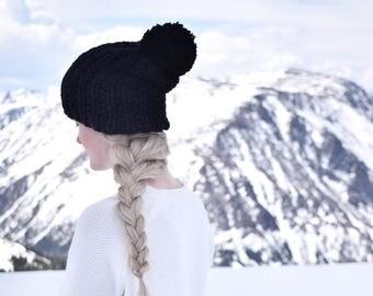 Black Knit Slouchy Hat Womens Knit Slouch Beanie / Black Knit Pom Hat Fall Fashion Winter Beanie / Warm Winter Hat Slouchy Hat Slouch Beanie