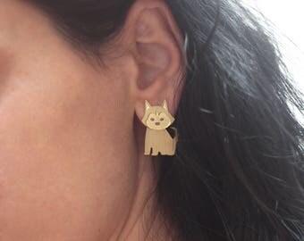 Siberian Husky Dog Earrings , Husky Studs , Gold Dog Ear Jacket Earring , Dog Jewelry , Siberian Husky Jewelry , Cute Gift for Dog Lovers