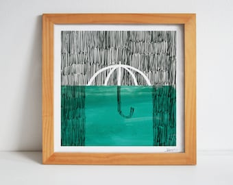 BROLLY A4 Giclée Print - art lifestyle home decor wall quirky painting rainy day umbrella turquoise kitchen textures signed illustration