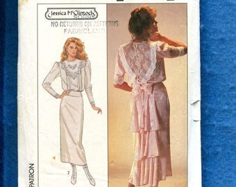 Vintage 1987 Simplicity 8224 Jessica McClintock Turn of the Century Dress with Godet  Size 12
