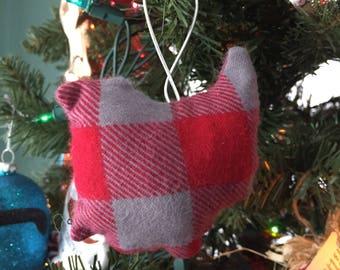 Ohio Ornament in Grey and Red Buffalo Plaid OSU   Free Shipping :)