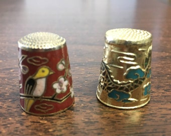 "Vintage 70's  ""BRASS ENAMEL THIMBLES""  Dragon in Flight & Birds on a Branch"