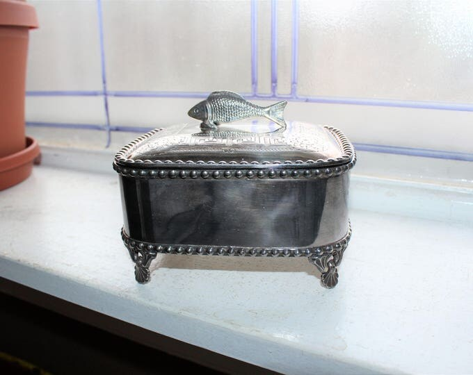 Antique Silverplate Sardine Box Redfield & Rice Circa 1860s Fish Finial