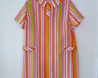 60's Bright Pastel Candy Stripe Dress Mod Dolly Shirtdress Shortsleeve Sundress by Peggy Gee Plus Size 2X 3X