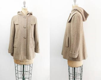Vintage 1960s Swing Coat 60s Swing Coat 60s Coat Beige Wool Coat Tan Wool Coat Tan 60s Coat Wool Swing Coat Swing Jacket XS Small Medium