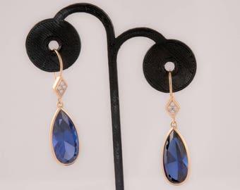Sapphire Diamond 14K Yellow Gold Earrings