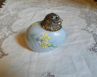 Antique Mt Washington CHICK CHICKEN salt Shaker salt pepper Egg Flower Opalware Hand Painted Opal Glass opaline