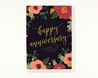 Anniversary card, wedding anniversary, happy anniversary, floral anniversary, love, wedding, husband, wife, greeting card, flowers, script