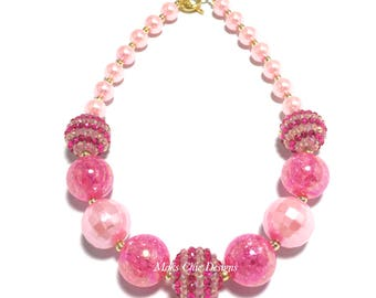 Toddler or Girls Pink Valentines Day Chunky Necklace - Girls Hot Pink and Light Pink Chunky Necklace - Pretty in Pink Necklace - Unicorn