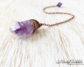Copper Crystal Pendulum, Wire Wrap Amethyst Point, Dowsing Pendulum, Metaphysical Healing, Scrying, Divination, Fortune Telling, Wiccan Tool