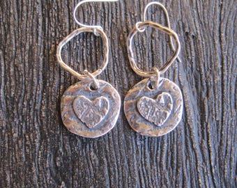 Heart Charm Earrings - Silver Finish Brass Double Sided Heart Charm Earrings - Boho Earrings - Hippie Earrings