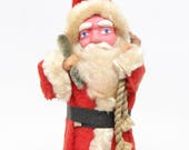 Vintage 1940's 5 Inch SANTA With Hand Painted Clay Face, Christmas