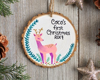 Baby's First Christmas Ornament. Christmas Deer Ornament. Fairytale Gift. Personalized Ornaments. Custom Kids Ornament. New Baby Girl Gift
