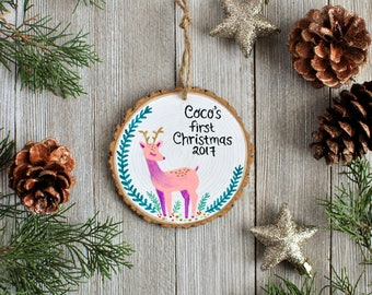Baby Ornament Personalized Kids Christmas Ornament, Deer Ornament, kid name gift, Custom Baby Ornament, Wood Ornament, Woodland Ornaments