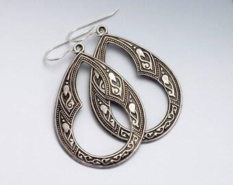 Antiqued Silver Hoop Earrings, Ornate Dangle Earrings, Brass Hoop Earrings, Silver Metal Earrings, Nickel Free Jewelry, Silver Color, Erynn