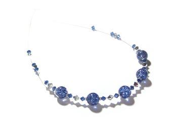 Murano Glass Dark Blue Necklace, Navy Blue Glass Bead Necklace, Venetian Glass Italian Jewelry, Crystal Jewelry, Something Blue, 16 Inch