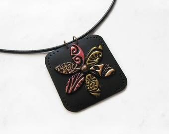 Mosaic jewelry, Flower Mosaic Polymer Clay Pendant, Statement necklace, Mosaic pendant, Flower jewelry, Mosaic necklace, Elegant jewelry