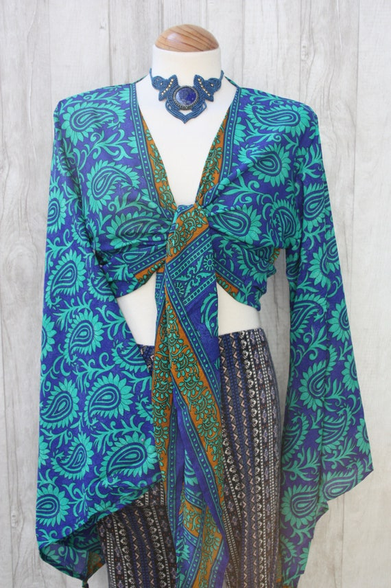 PAISLEY TIE TOP - Bell sleeve crop top- Silk Tie Top- Vintage- Festival Top- Hippie- Retro- 70s- Crop Top- 100% Silk- Couture