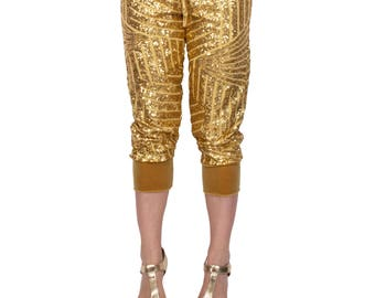 Sequin Cropped Joggers