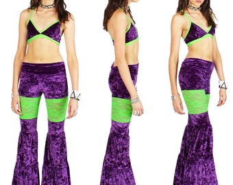 SALE SMALL Long Peekaboo Flow Pants with Green Lace