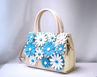 leather bag, beige bag, hanmade bag, bag with flowers, flower bag,classical bag, unique bag, applique bag