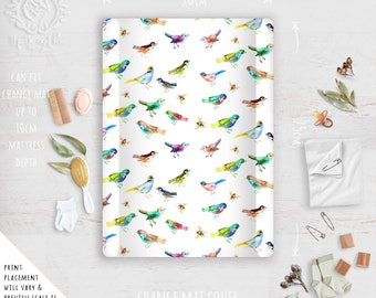Change Mat Cover/ Rainbow Birds and Bees Tropical Colourful Print Linen Cotton | Fabric by Thistle and Fox | Ships in 4-5 wks